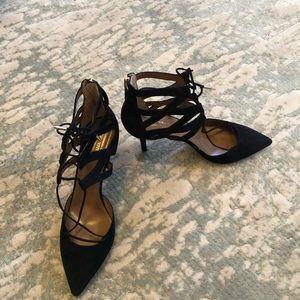 Aquazurra Belgravia Black Suede Heels